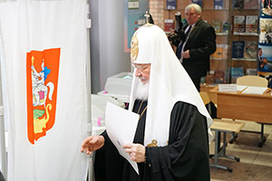 Patriarch Kirill of Moscow and All Russia Votes at MGIMO-Odintsovo
