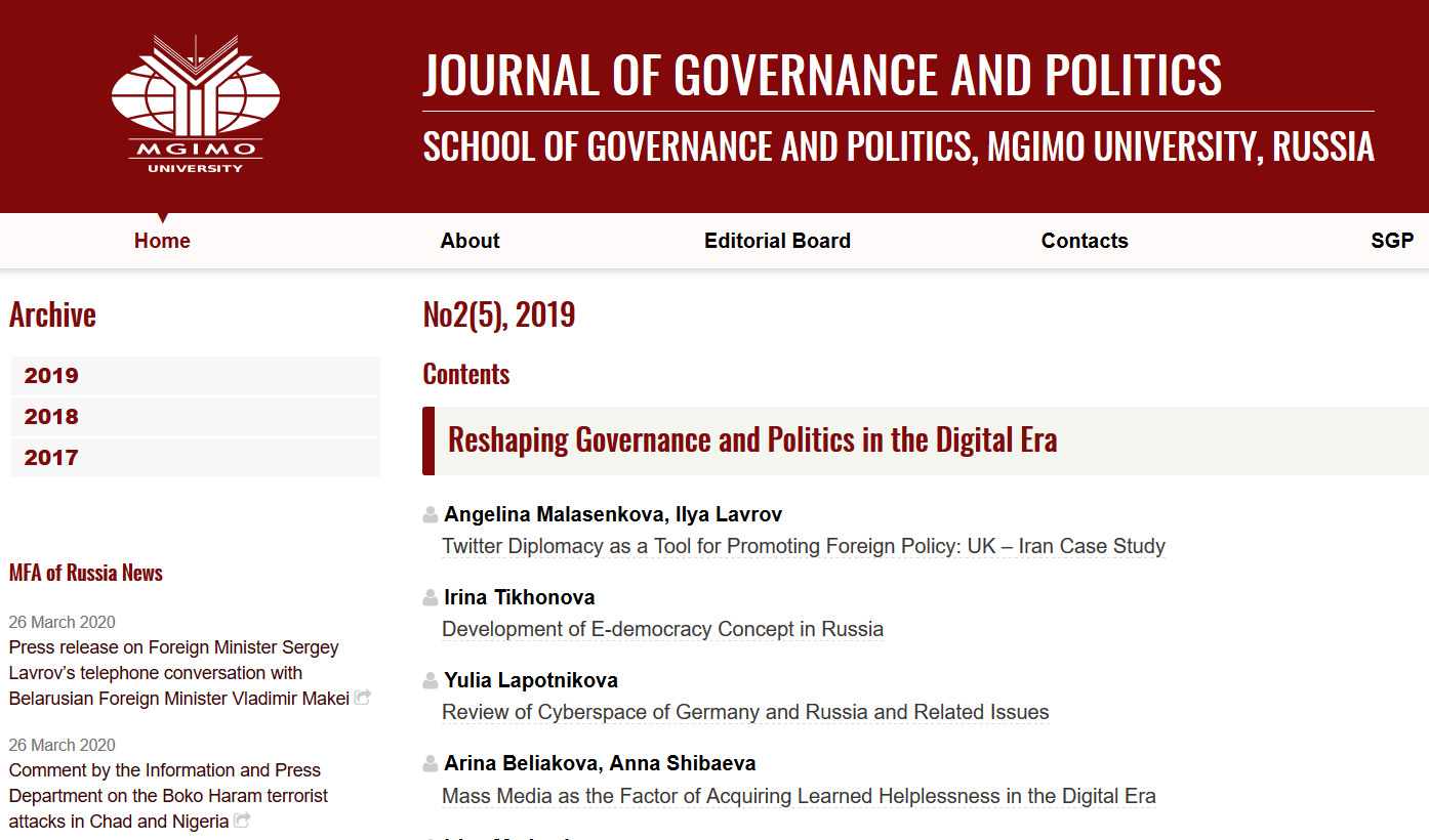 The Journal of Governance and Politics is available online