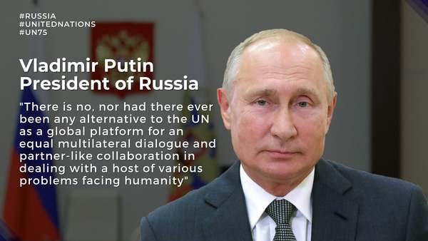President of Russia Vladimir Putin congratulates on the occasion of the 75th anniversary of the United Nations